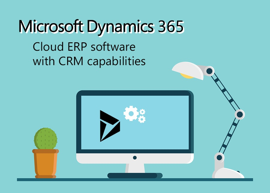 Dynamics 365- Cloud ERP software with CRM capabilities title with computer
